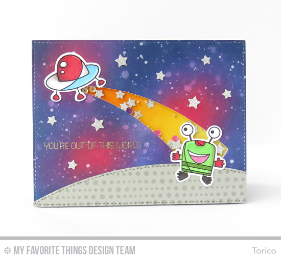 Handmade card from Torico featuring the Out of This World stamp set and Die-namics, Lots of Dots Background stamp, Stitched Basic Edges and Blueprints 25 Die-namics #mftstamps