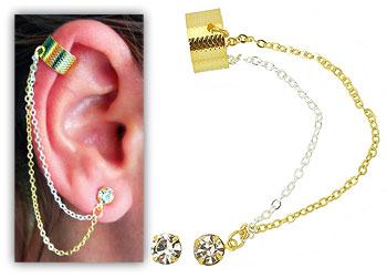 Comprar Brinco EAR CUFF Folheado a ouro com 2 correntinhas e strass