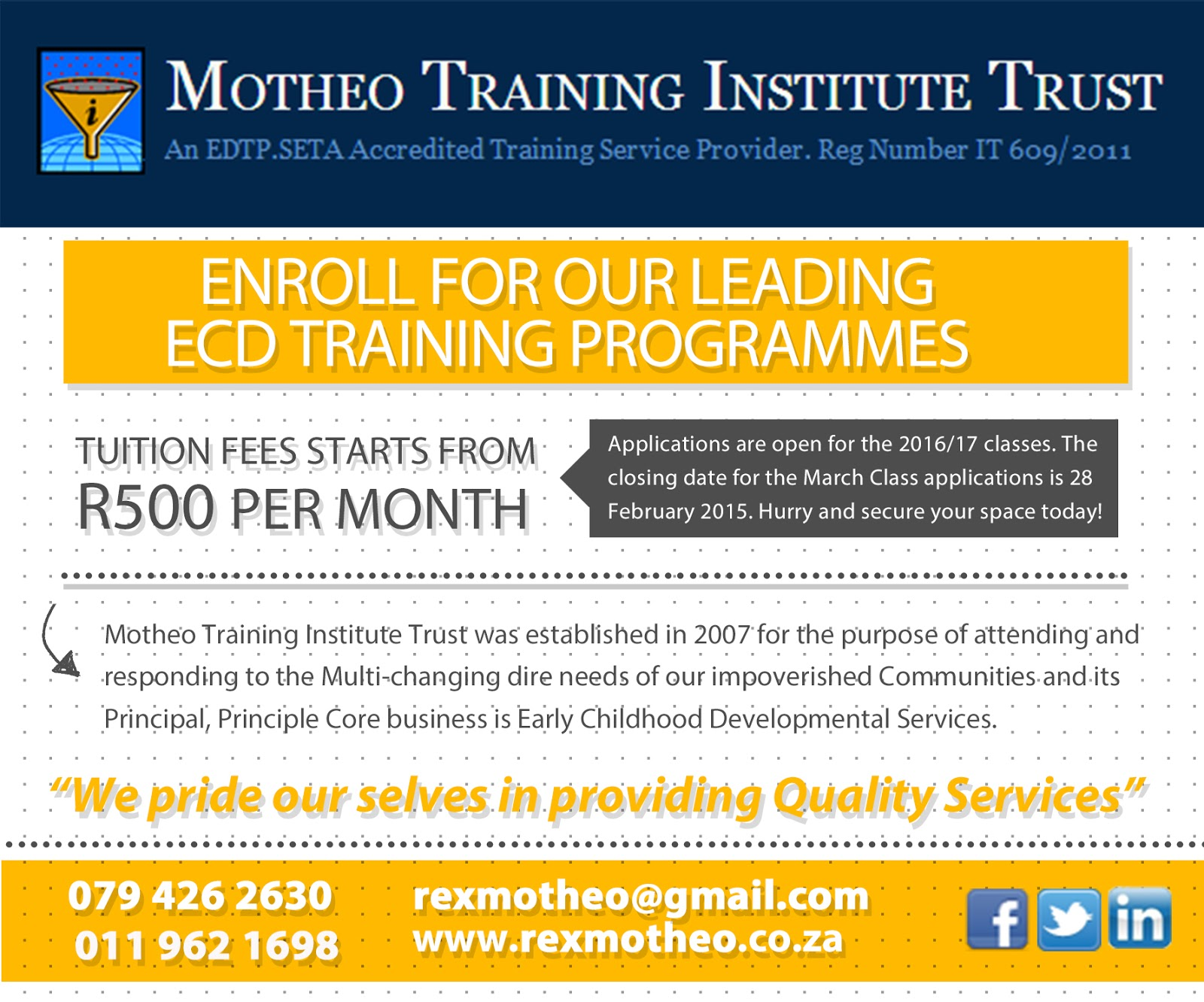 Motheo Training Institute Trust: 2016