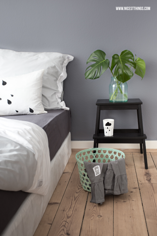 Kissen bestempeln Schlafzimmer schlicht Ikea Bettwäsche Beach House