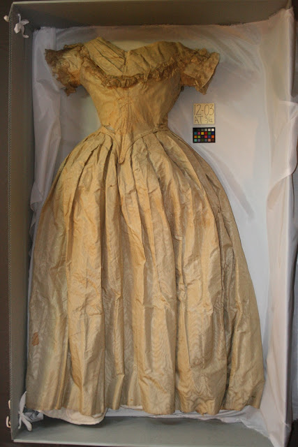 Angelica Van Buren dress, art conservation by textile conservator, Gwen Spicer