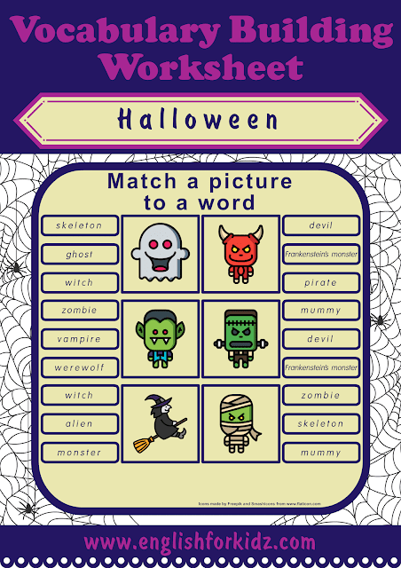 Halloween worksheet - picture to word matching activity