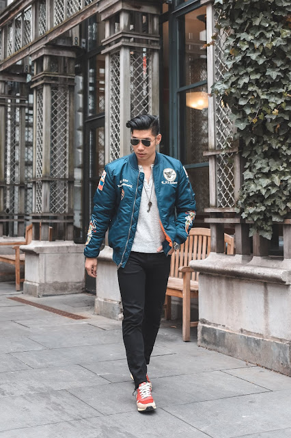 Leo Chan wearing Blue Alpha Industries Bomber Jacket for Fall