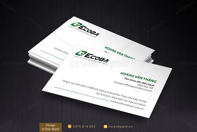 Mẫu card visit công ty Ecoba