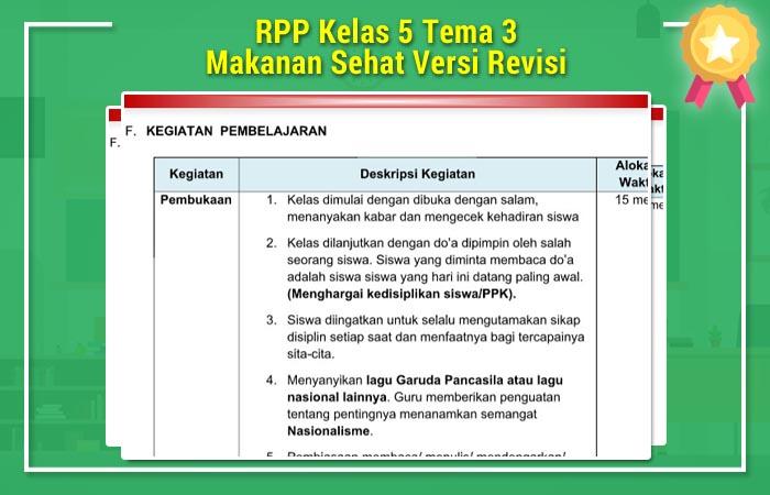 RPP Kelas 5 Tema 3 Makanan Sehat Versi Revisi