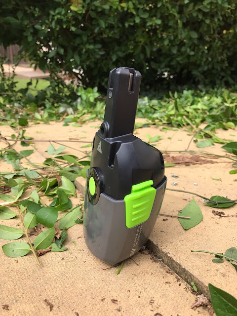 Battery on the GTech HT20 Cordless Hedge Trimmer