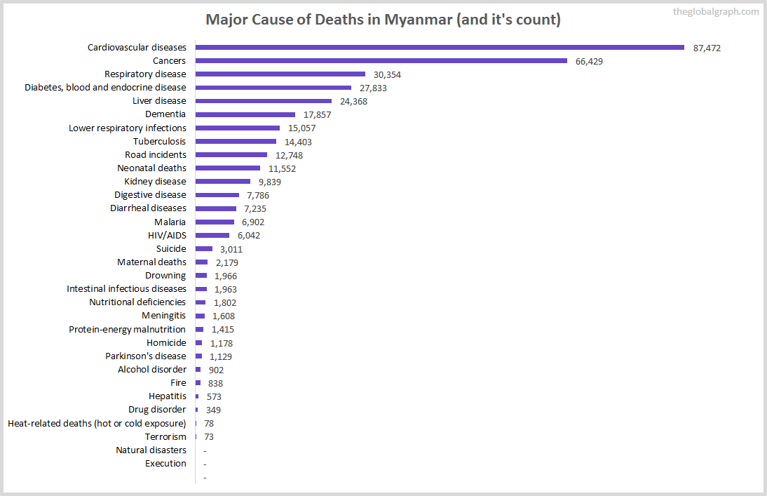 Major Cause of Deaths in Myanmar (and it's count)