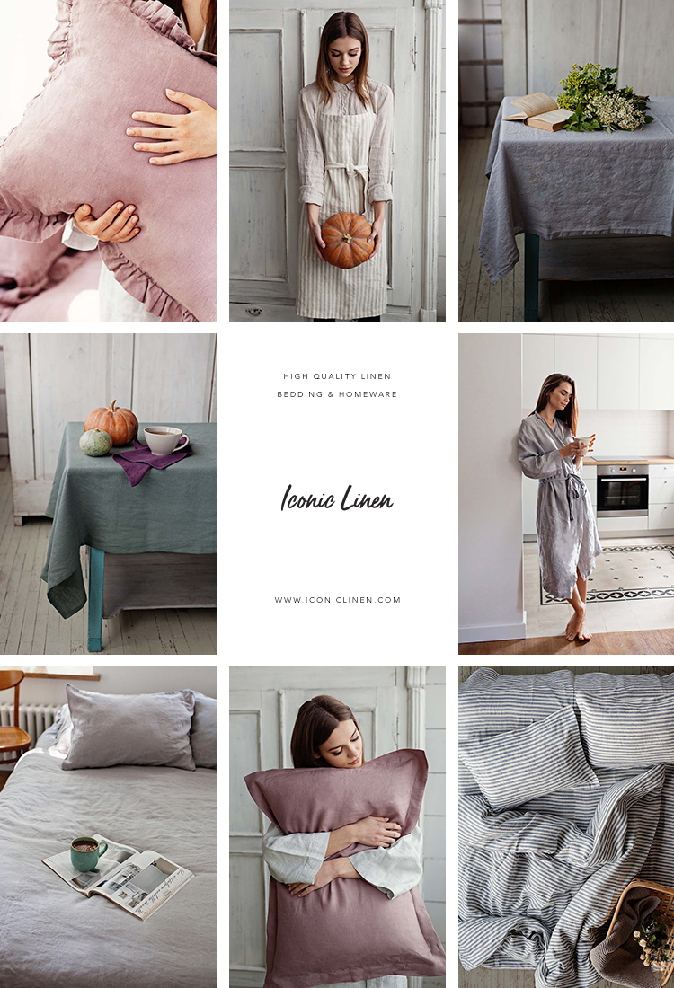 High-quality handmade linen bedding by Iconic Linen, European flax bedding, oeko-tex certified bedding, linen homeware, dark gray linen bedding, stonewashed linen bedding, linen aprons, linen tablecloths, linen napkins