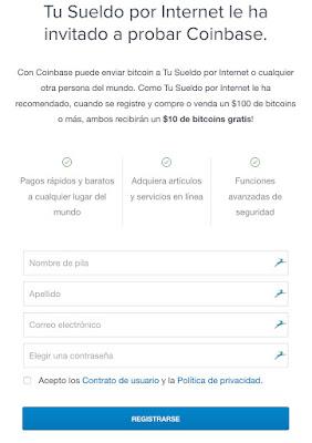 Registro Gratis en Coinbase