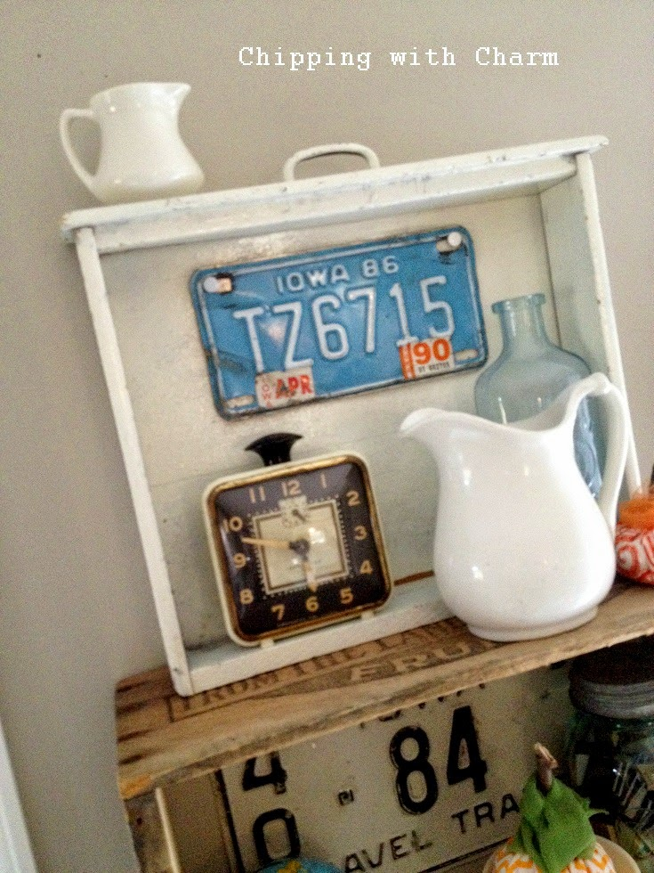 Chipping with Charm: Colorful Fall Drawer Shelf Vignette...http://www.chippingwithcharm.blogspot.com/