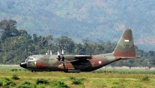 Pesawat Hercules C-130 A-1334 TNI AU