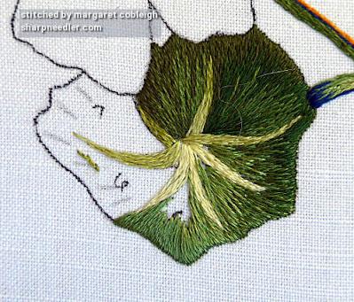 Beginning the embroider on the needlepainted nasturtium leaf. (Catherine Laurencon Capucines (Inspirations))