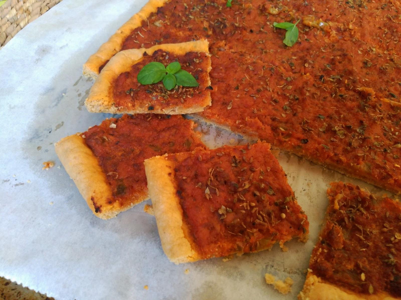 Masa para coca de tomate y pimiento