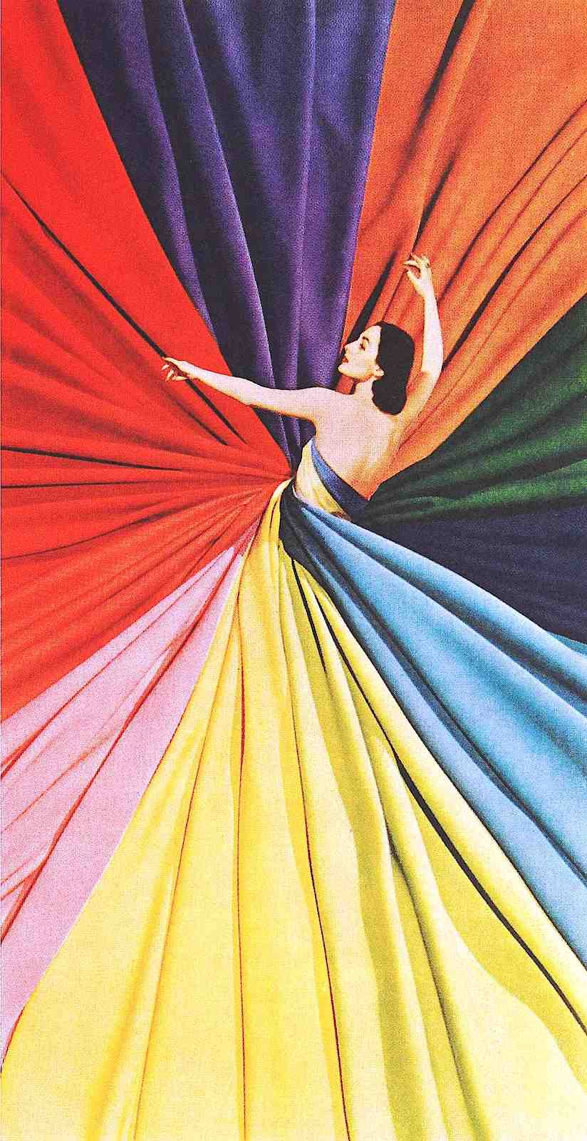 1946 magazine advertisement, a photograph of a woman twisted in multi-colored fabric