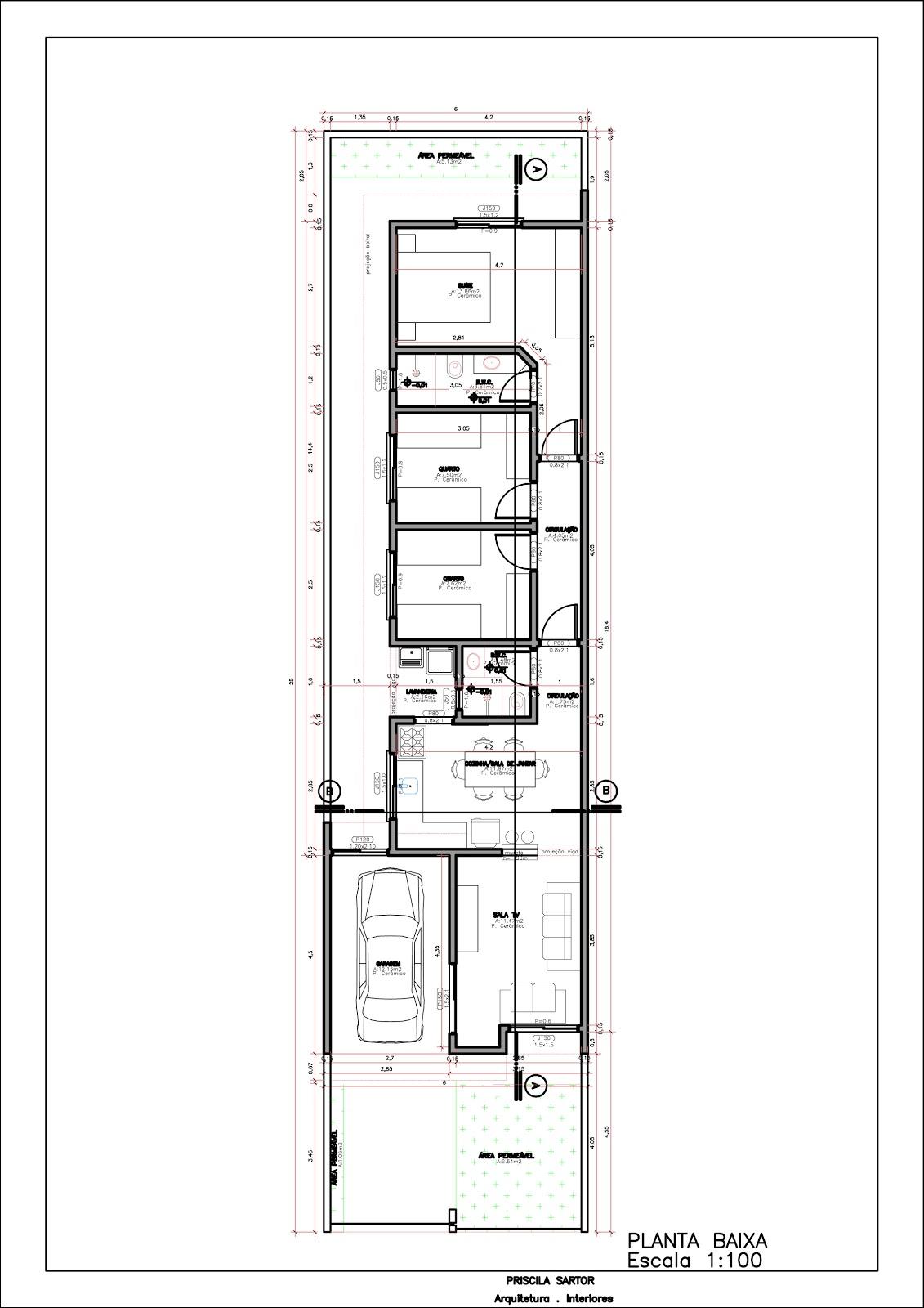 Plantas de casas meio terreno 5x25 for Casa moderna de 7 x 15
