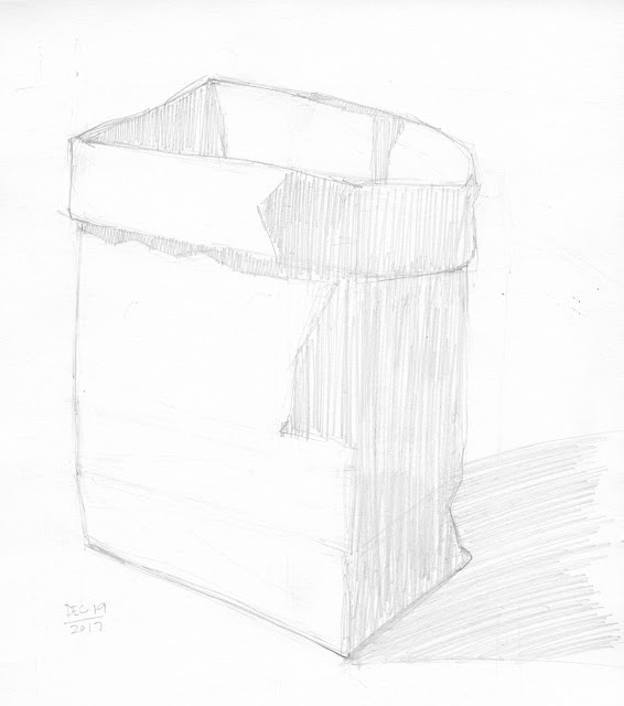 Daily Art 12-19-17 still life sketch in graphite number 76 - paper bag