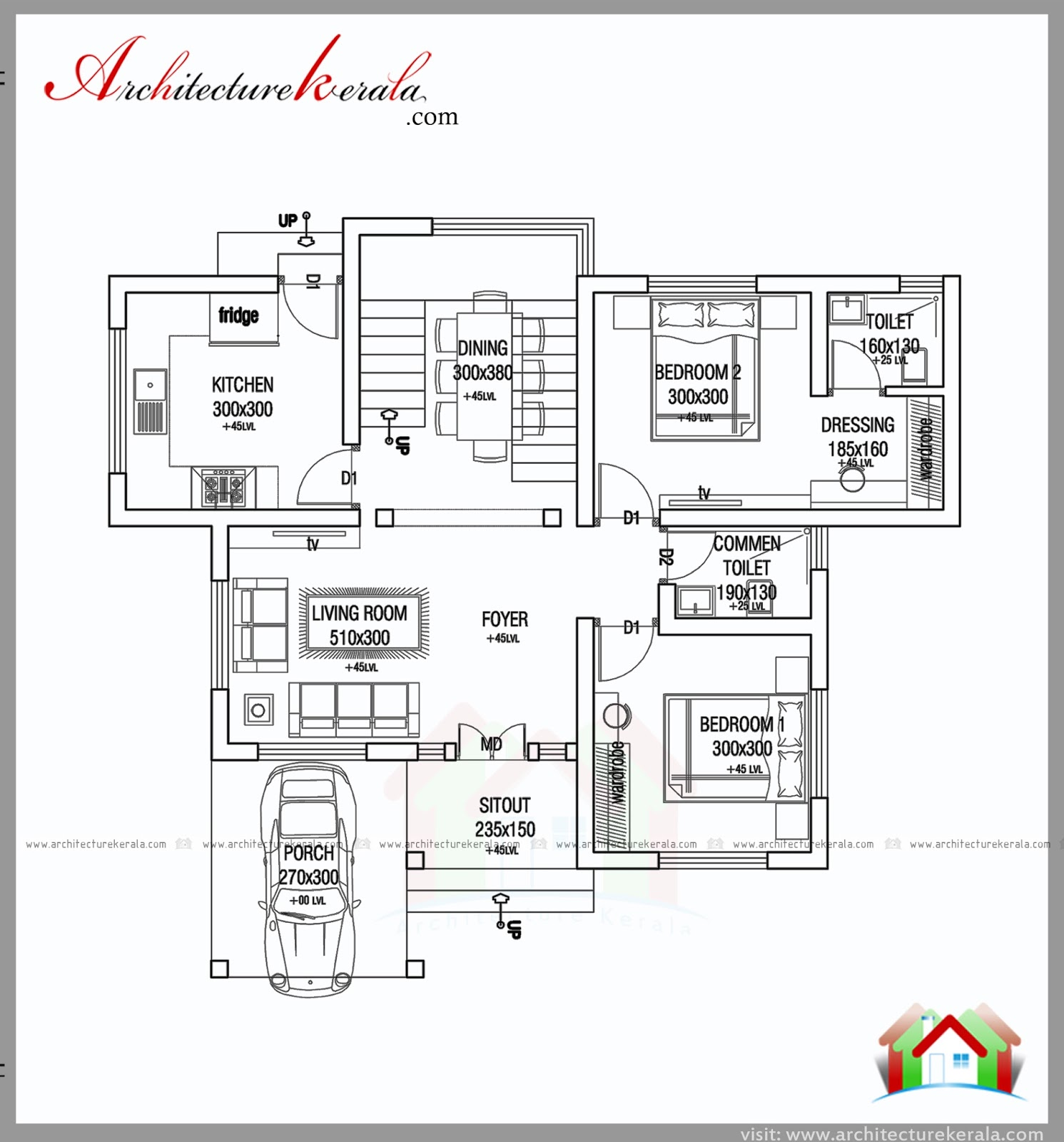 1000 square feet 2 bed house plan and elevation for 1000 feet house plans