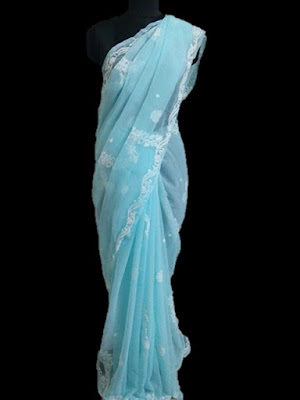 Blue Lucknowi Saree