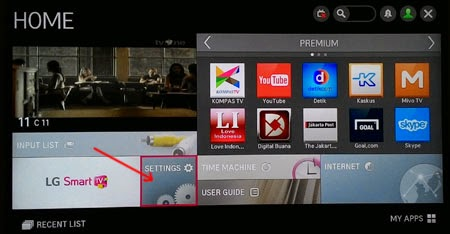 Menu Home dan Setting Smart TV