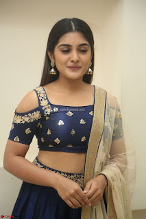Niveda Thomas in Lovely Blue Cold Shoulder Ghagra Choli Transparent Chunni ~ Exclusive Celebrities Galleries 025