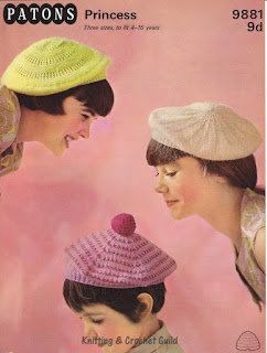 1960s vintage knitting pattern; berets for girls & teenagers
