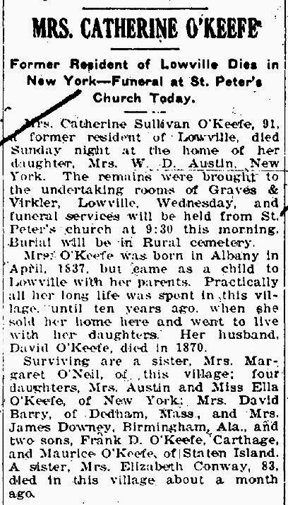 Obituary of Catherine Sullivan O'Keefe 1837-1928 from the Lowville Journal Republican, 16 February 1928