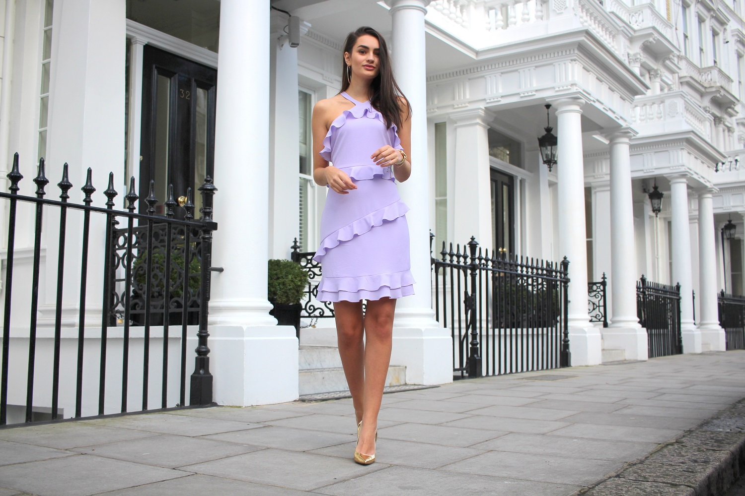 peexo style blogger halterneck lilac ruffle dress