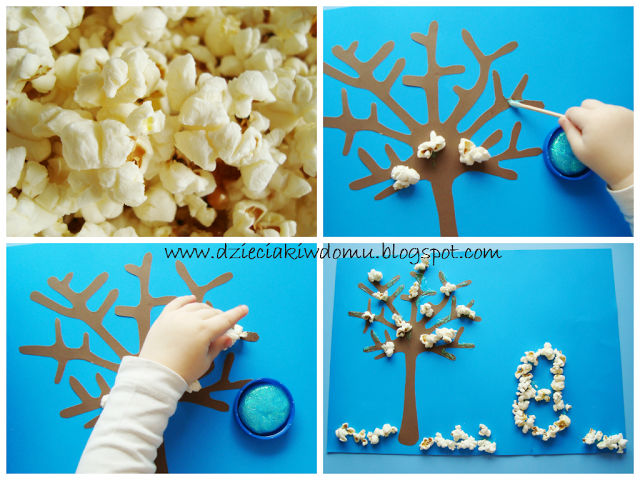 zimowe drzewko pokryte śniegiem z popcornu dla dzieci