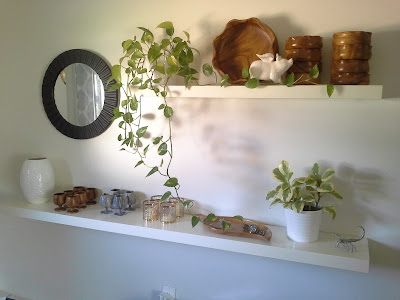 Lack Floating shelves plants wooden bowls cups marble wine goblets