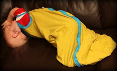 DIY Baby Sleep Sack on wiggly baby
