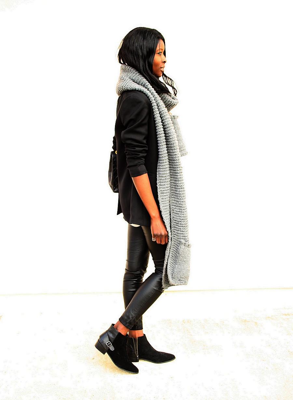 blog-mode-pantalon-cuir-boots-chelsea-blazer-smocking-maxi-echarpe