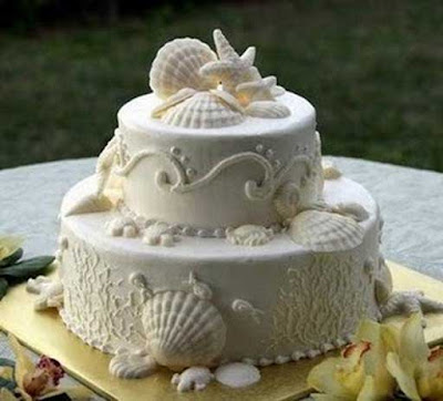 white beach themed wedding cake