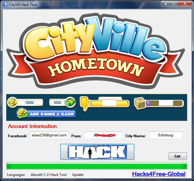 CityVille Hack Tool which give you unlimited energy, gold and money!