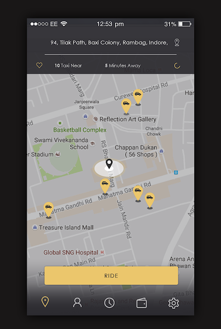 Taxi App Map Screen