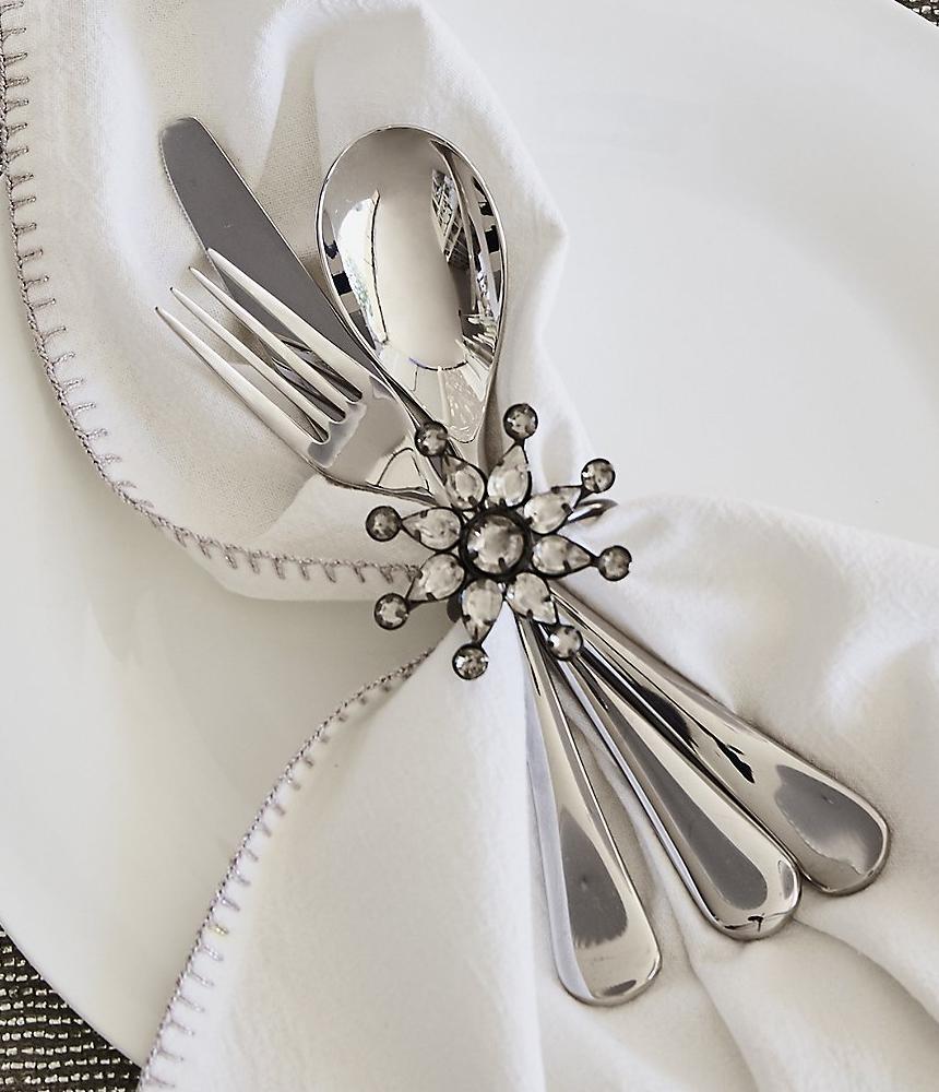 The White Company Snowflake Pendant Napkin Rings Set Of 4 Silver