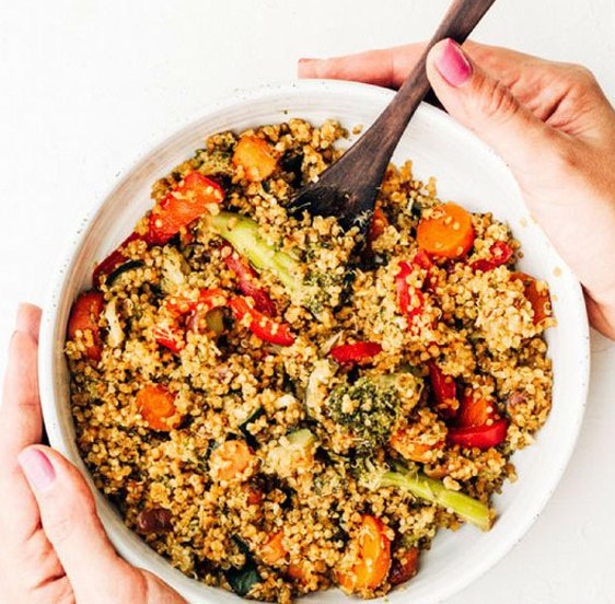 Healthy Homemade Oil Free Quinoa (not) Fried Rice with Peanut Stir Fry Sauce