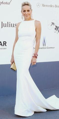 Sharon Stone in white Roberto Cavalli in Cannes 2013