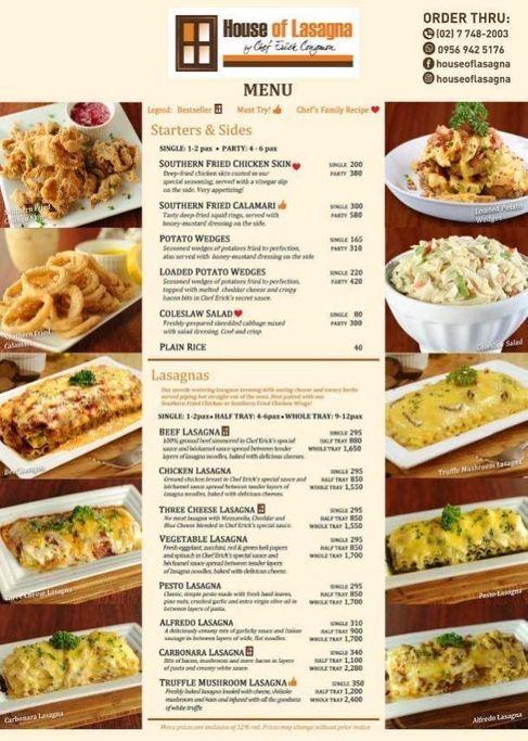 Baked lasagna menu selection from House of Lasagna