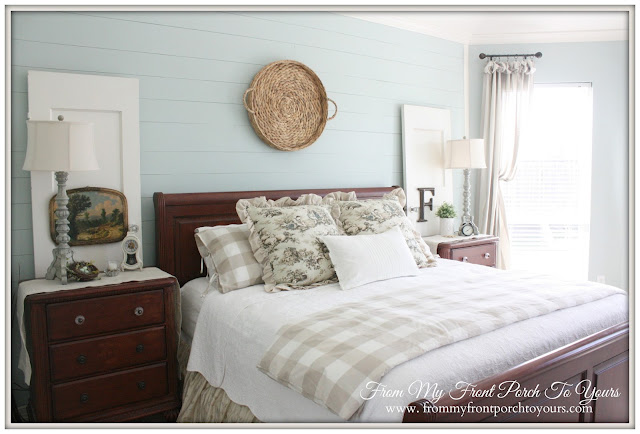 French Farmhouse Master Bedroom-Buffalo Check Bedding-Toile- From My Front Porch To Yours
