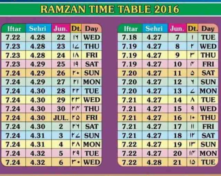Ramadan Timetable 2016 | Ramazan Sehri-Iftaar Timings Updated