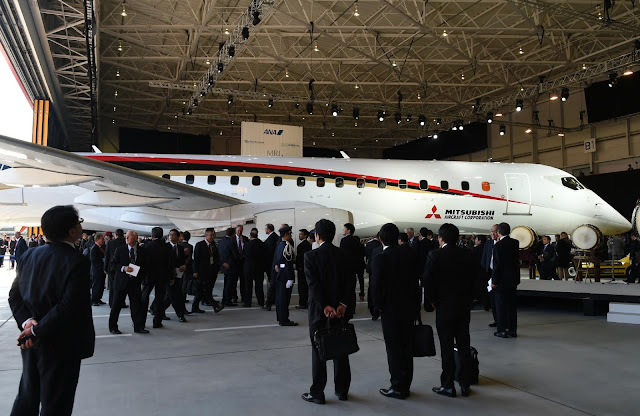 MRJ Posses in Hangar in Roll Out Ceremony