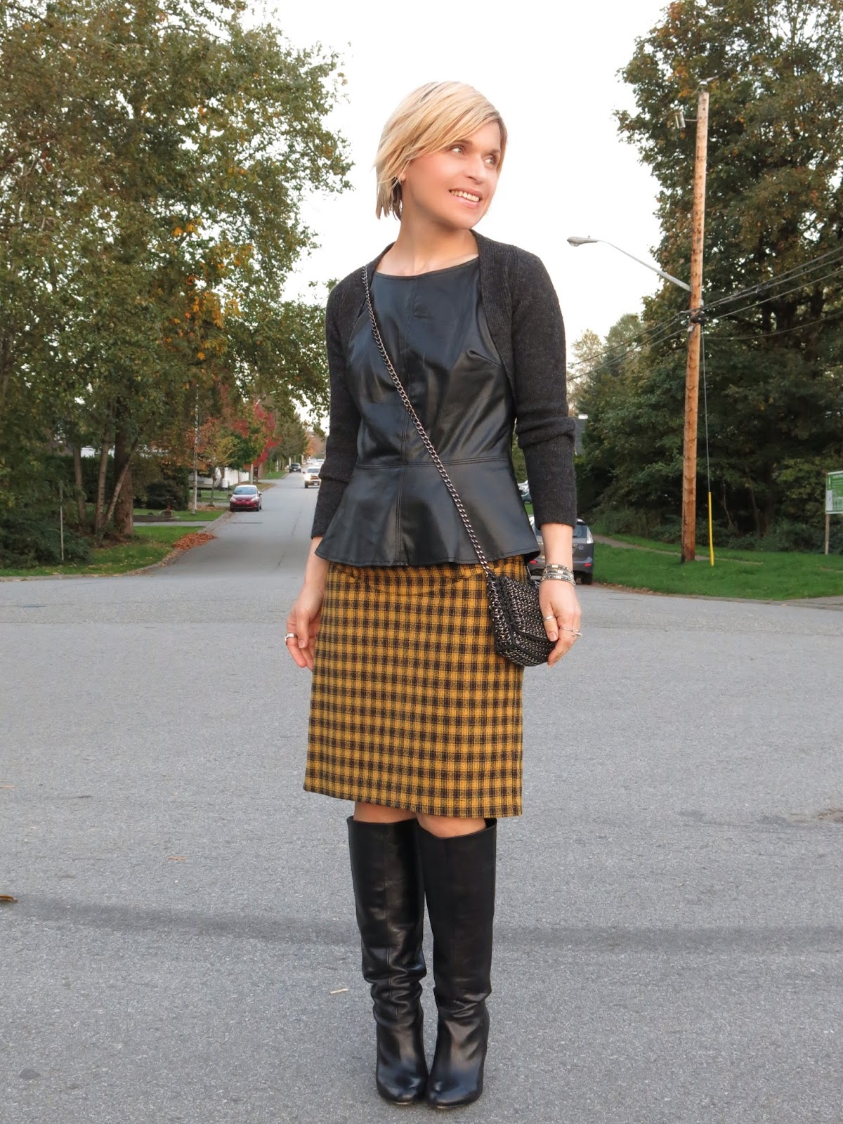 Fantastic With thanks: plaid pencil skirt, pleather peplum top, and wool  AX13