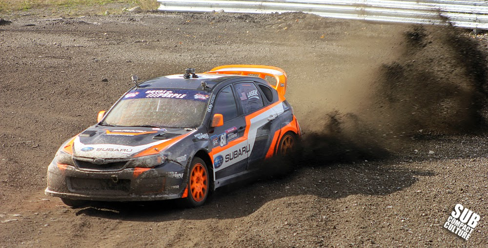 Bucky Lasek driving the Subaru Rally Team USA Impreza WRX