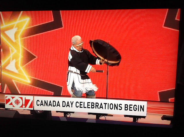 Screenshot CBC coverage Canada 150, Ottawa - Indigenous performer drumming