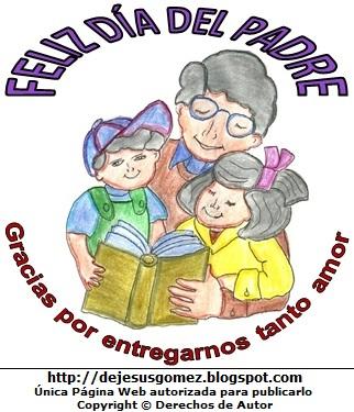 Dibujo por el Día del padre para niños y a colores. Imagen del Día del Padre de Jesus Gómez