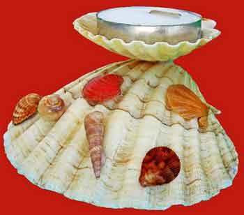 kulit kerang yang berukuran besar dapat dibuat kerajinan tangan berbentuk tempat lilin aroma terapi. sangat fungsional dan bernilai ekonomis