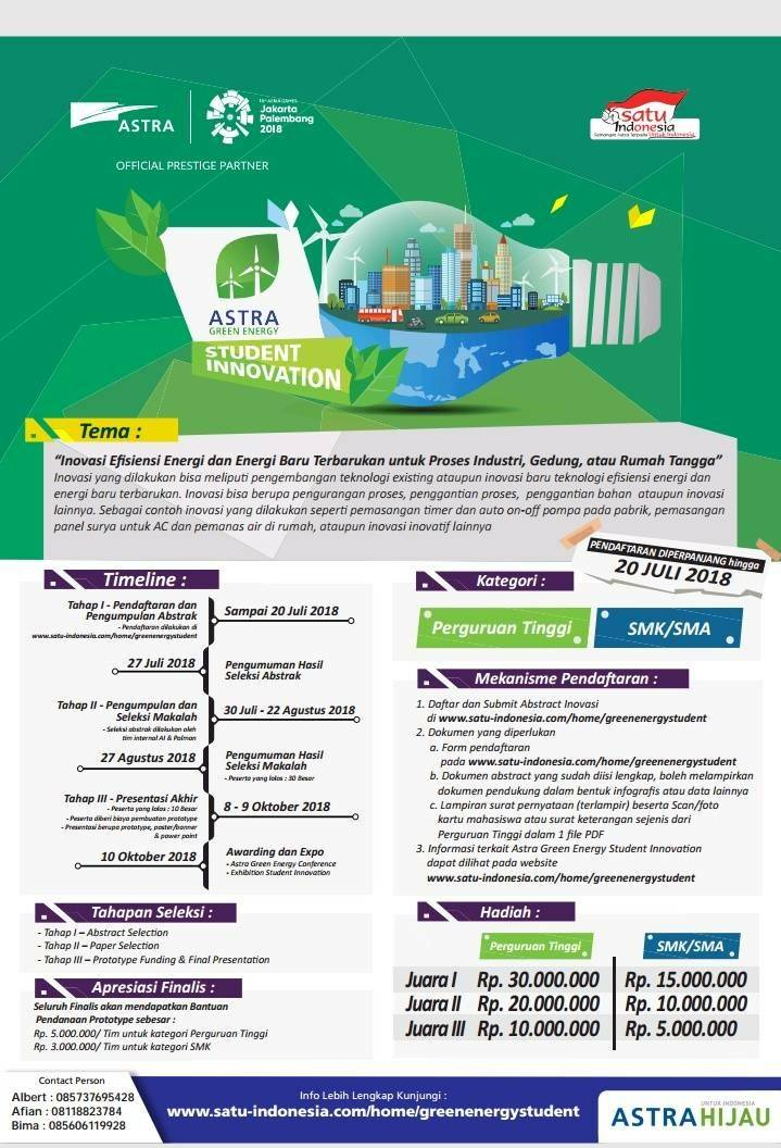 [GRATIS] Astra Green Energy Student Innovation 2018