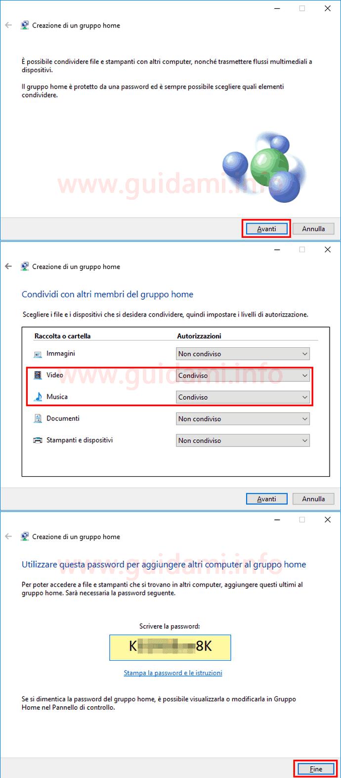 Procedura creazione guidata Gruppo Home Windows