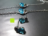 blaue Seite: Fashmond Schmuckset Schmuck-Sets eine Ohrringe, ein Armband und eine Halskette Kette mit Anhänger für Frauen Mädchen Blau aus Kristall