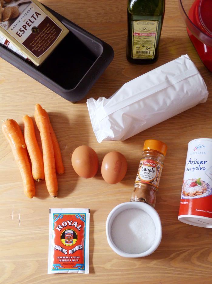 bizcocho de zanahoria en microondas- ingredientes